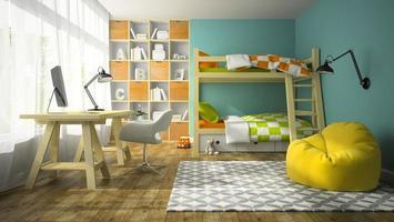 interior de um quarto infantil com beliche em renderização 3D