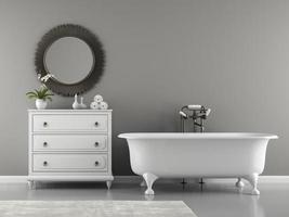 interior de um banheiro clássico com uma banheira elegante em renderização 3D foto