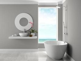 interior de um banheiro com vista para o mar em renderização em 3d