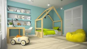 interior de um quarto infantil com um carrinho de brinquedo em renderização 3D foto