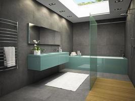 interior de um banheiro com janela de teto em renderização 3D foto