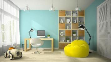 interior de uma sala de design moderno com um carrinho de brinquedo em renderização 3d foto