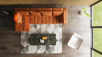vista superior do interior de uma sala de estar moderna em renderização em 3D