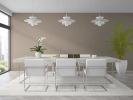 interior de uma sala de jantar de design moderno com uma planta de palmeira em renderização 3D foto