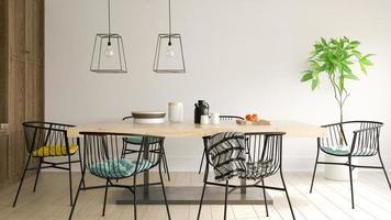 interior de uma moderna sala de jantar em renderização 3d