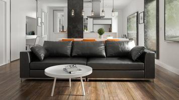 Design de interiores em estilo escandinavo com renderização em 3d foto