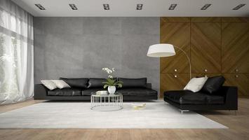interior de uma sala de design moderno com um armário de madeira em renderização 3D foto