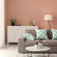 interior de uma sala de estar moderna com sofá e móveis em renderização 3D foto