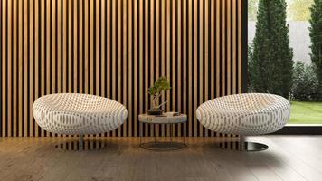 interior de uma sala moderna com uma cadeira em renderização 3D
