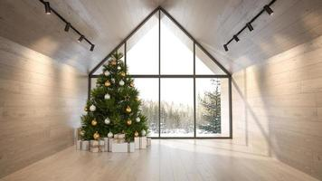 sala de estar interior de uma casa na floresta com uma árvore de natal em renderização 3D foto