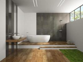 interior de um banheiro com piso de madeira e grama em renderização 3D
