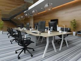 escritório moderno de interior em espaço aberto em ilustração 3D foto