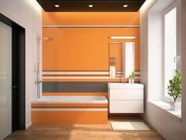 interior de um banheiro com paredes laranja em renderização em 3d