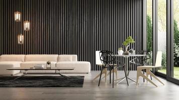 interior de uma sala moderna com um sofá em renderização 3D