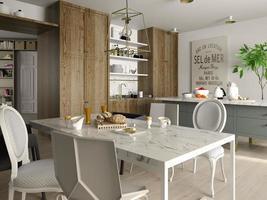 interior de uma moderna sala de jantar em renderização 3d foto