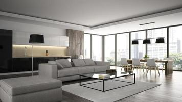 interior de um loft de design moderno em renderização 3d