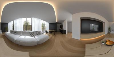 projeção panorâmica esférica de 360 ° de um design de interiores em estilo escandinavo em renderização em 3D foto