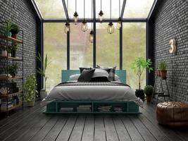 design de interiores de quartos em renderização 3d