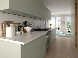 design de interiores de estilo moderno de uma casa em renderização em 3d foto