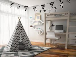 parte de um interior com uma cabana na ilustração 3D foto