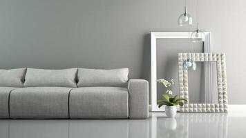 parte de um interior com um sofá cinza e molduras elegantes em renderização 3D