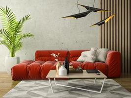 interior de uma sala de design moderno em ilustração 3D foto