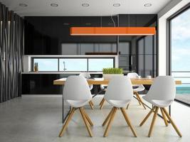 design moderno de interiores de uma cozinha em renderização em 3d foto