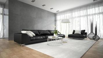interior de um quarto moderno com sofás pretos em renderização 3D foto