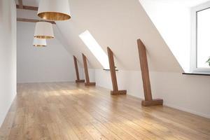 interior de uma sala vazia em renderização 3d foto