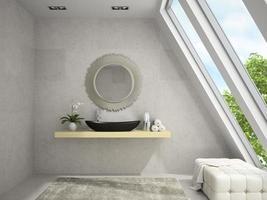 interior de um banheiro em mansarda com espelho redondo em renderização 3D