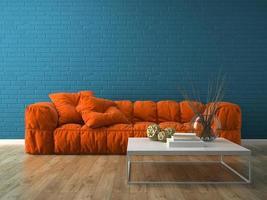 quarto com design moderno de interiores em renderização em 3d