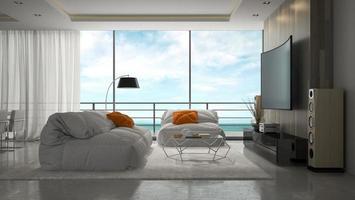 quarto com design moderno de interiores em renderização em 3d foto