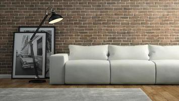 parte de um interior com uma parede de tijolos e um sofá branco em renderização 3D