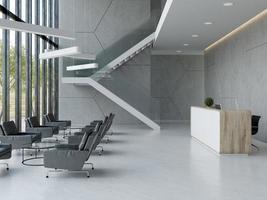 interior de um saguão de escritório de hotel, spa, área de recepção em ilustração 3D foto