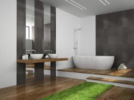 interior de um banheiro com piso de madeira em renderização 3D