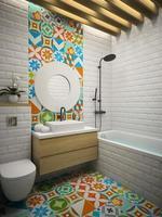 interior de um banheiro moderno em renderização 3d foto