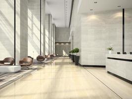 interior de uma área de recepção de hotel em ilustração 3D foto