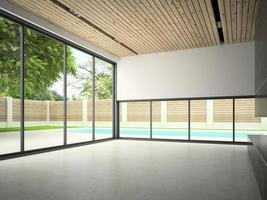 interior de uma sala vazia com uma piscina em renderização 3D foto