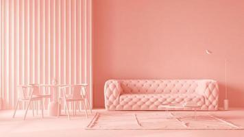 interior plano rosa e monocromático de uma sala de estar moderna em renderização 3D