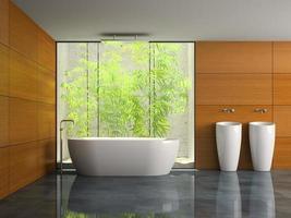 interior de um banheiro com paredes de madeira em renderização 3d