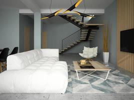design de interiores de um quarto moderno em ilustração 3D foto