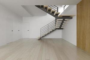 quarto vazio interior com uma escada em renderização 3d foto