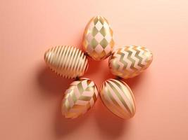 ovos de páscoa em um fundo rosa na ilustração 3D