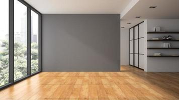 uma sala vazia em renderização 3d foto