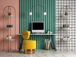 Escritório doméstico interior conceitual no estilo memphis em ilustração 3D