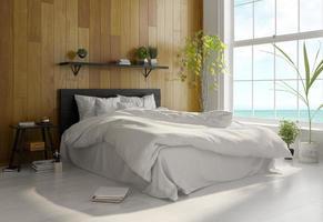 design de interior de um quarto de estilo escandinavo em renderização 3D