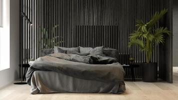 interior preto minimalista de uma casa moderna em renderização 3D