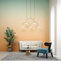 ilustração 3D conceitual da sala interior