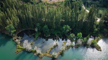 vista aérea do lago e da floresta de pinheiros no parque público de liwong, chana, Tailândia