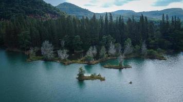 vista aérea do lago e da floresta de pinheiros no parque liwong, na Tailândia